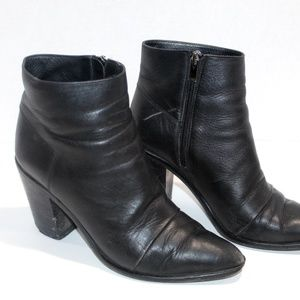 Vince Boots Soft Leather Ankle Booties Block Heel